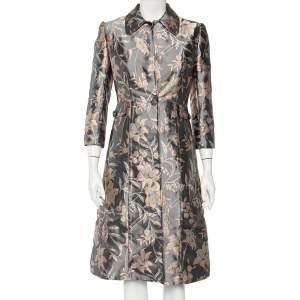 Dolce & Gabbana Grey Floral Jacquard Satin Button Front Coat S