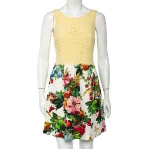 Dolce & Gabbana Yellow Lace & Floral Jacquard Mini Dress S