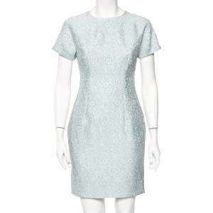 Dolce & Gabbana Blue Embossed Jacquard Sheath Dress S