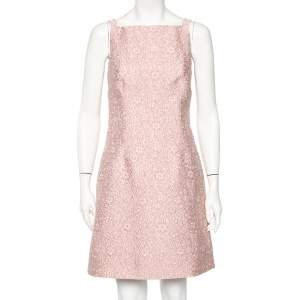 Dolce & Gabbana Pink Floral Embossed Jacquard Sleeveless Mini Dress S