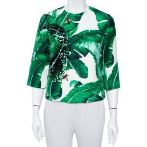 Dolce & Gabbana Green Banana Leaf Printed Jacquard Embellished Collarless Jacket S