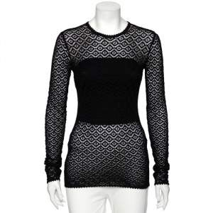 Dolce & Gabbana Black Perforated Knit Long Sleeve Tunic S