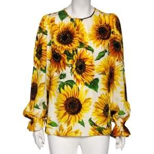 Dolce & Gabbana Yellow Sunflower Printed Silk Blouse M