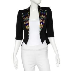 Dolce and Gabbana Black Wool Rhinestone and Crystal Lapel Cropped Blazer S