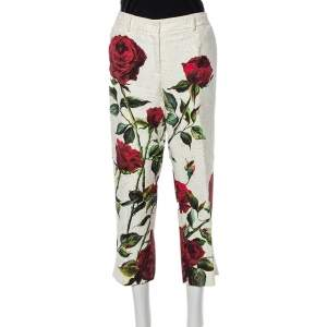 Dolce & Gabbana White Rose printed Brocade Tapered Cropped Pants L