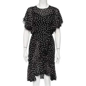 Dolce & Gabbana Black Polka Dot Silk Ruffled Faux Wrap Midi Dress S