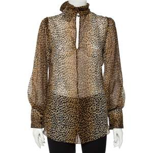 Dolce & Gabbana Leopard Print Silk Turtle Neck Blouse M