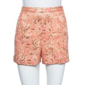 Dolce & Gabbana Peach Brocade Silk High Waist Shorts XS