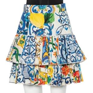 Dolce & Gabbana Multicolor Majolica Printed Cotton Tiered Skirt M