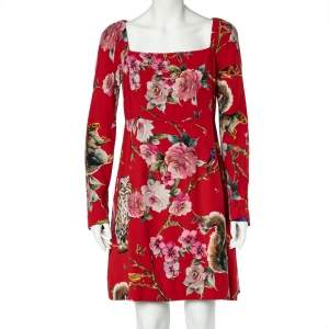 Dolce & Gabbana Red Crepe Enchanted Forest Print Long Sleeve Dress M