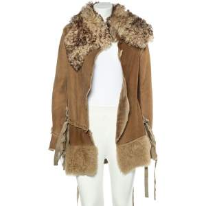 Dolce & Gabbana Beige Fur And Leather Stitch Detail Tie Front Overcoat S