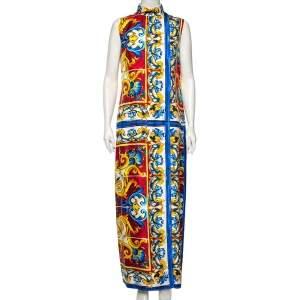 Dolce & Gabbana Majolica Print Silk Front Slit Maxi Dress L