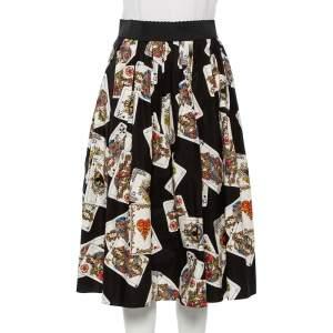 Dolce & Gabbana Black Cotton Playing Cards Print Pleated Midi Skirt S