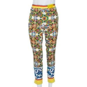 Dolce & Gabbana Multicolor Majolica Print Silk Trousers M