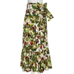 Dolce & Gabbana Green Fig Print Cotton Pleated Detail A-Line Skirt M
