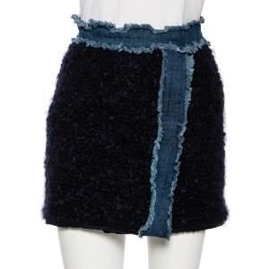 D&G Navy Blue Mohair Denim Trim Detail Button-Up Mini Skirt S