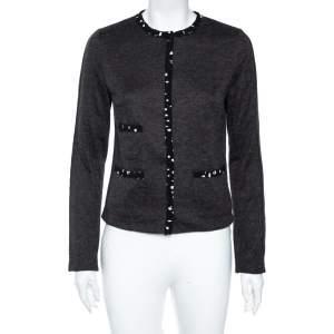 Dolce & Gabbana Grey Knit Contrast Polka Dotted Trim Detail Cardigan M