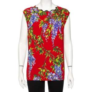 Dolce & Gabbana Multicolored Crepe Floral Polka Dot Printed Top L
