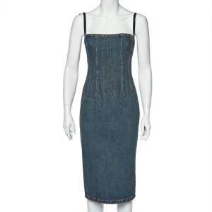 Dolce & Gabbana Vintage Blue Denim Corset Dress S