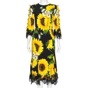 Dolce & Gabbana Black Printed Crepe Embellished Lace-Trimmed Cady Dress S