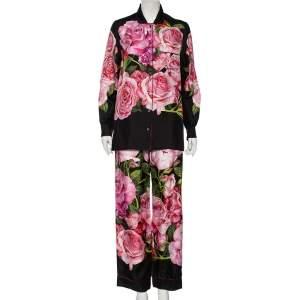 Dolce & Gabbana Black Rose-Print Silk Pajama Set S