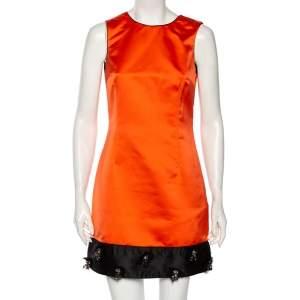 Dolce & Gabbana Orange Satin Contrast Embellished Hem Detail Short Dress M