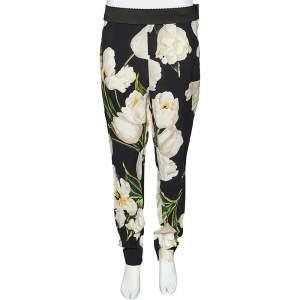 Dolce & Gabbana Black Tulip Printed Crepe Tapered Leg Trousers L