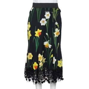 Dolce & Gabbana Black Floral Printed Crepe & Lace Trim Cady Skirt M