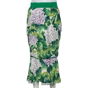 Dolce & Gabbana Green Hydrangea Printed Silk Flounce Hem Detail Midi Skirt M