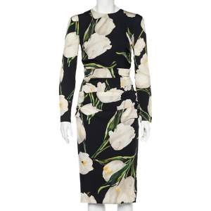 Dolce & Gabbana Black Tulip Printed Silk Ruched Midi Dress M