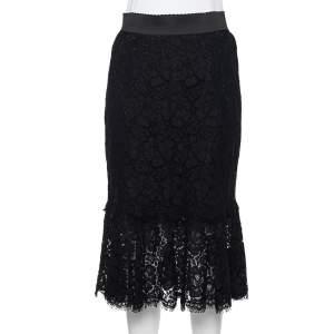 Dolce & Gabbana Black Lace Flounce Hem Midi Skirt M
