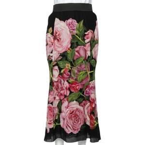 Dolce & Gabbana Black Rose Printed Silk Pencil Skirt M