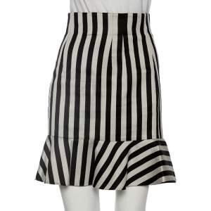 Dolce & Gabbana Silver & Black Striped Silk Bell Skirt S