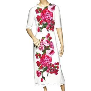 Dolce & Gabbana White Floral Printed Crepe Midi Dress M