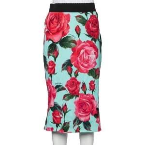 Dolce & Gabbana Multicolor Floral Printed Crepe Midi Skirt M