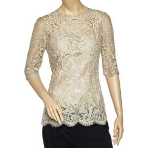 Dolce & Gabbana Beige Lace Satin Lined Top M