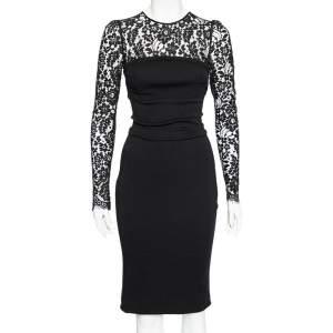 Dolce & Gabbana Black Wool And Lace Paneled Midi Dress S