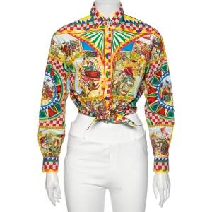 Dolce & Gabbana Multicolored Printed Cotton Front Tie-Up Detail Shirt S