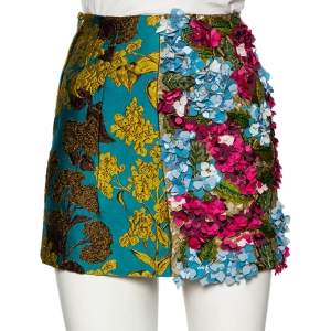 Dolce & Gabbana Multicolored Jacquard Floral Embellished Applique Mini Skirt XS