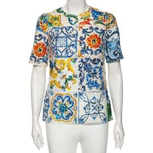 Dolce & Gabbana Multicolor Majolica Printed Eyelet Lace Top M