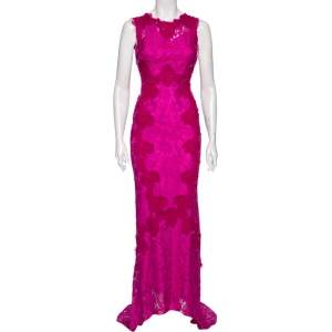 Dolce & Gabbana Magenta Corded Lace Open Back Maxi Dress S