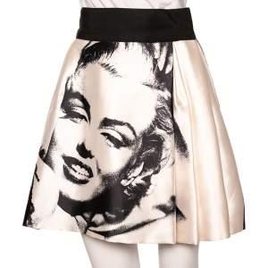 Dolce & Gabbana Monochrome Marilyn Monroe Face Print Silk Pleated Skirt S