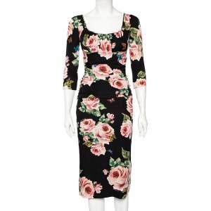 Dolce & Gabbana Black Floral Printed Silk Draped Detailed Sheath Dress S