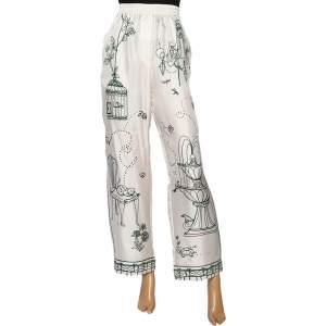 Dolce & Gabbana White Victorian Garden Printed Silk Twill Pants L