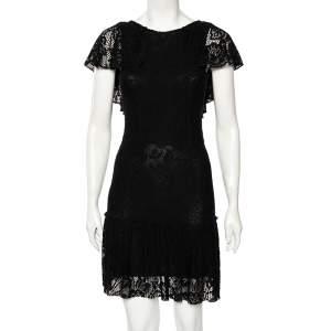 Dolce & Gabbana Black Crochet Lace Flared Hem Detailed Dress S
