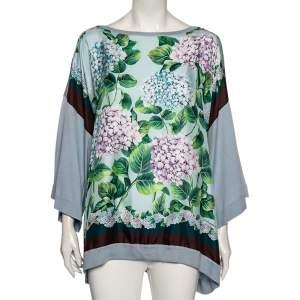 Dolce & Gabbana Light Blue Floral Print Silk Oversized Top L