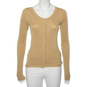 Dolce & Gabbana Gold Lurex Knit Button Front Cardigan M