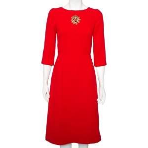 Dolce & Gabbana Red Crepe Wool Embellished Logo Detail A-Line Midi Dress S