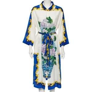 Dolce & Gabbana White Bouquet Printed Silk Button Down Belted Dress L