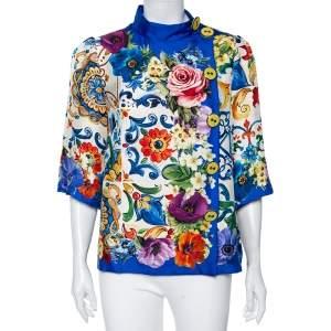 Dolce & Gabbana Blue Floral Printed Silk Button Detailed Blouse M